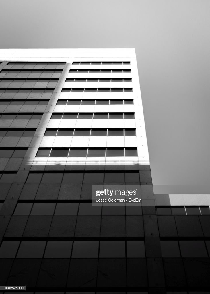 Low Angle View Of Modern Building Against Clear Sky : Foto de stock