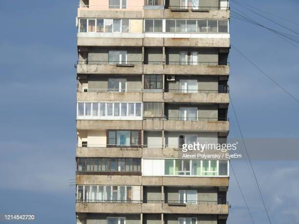 low angle view of modern building against sky - former soviet union stock pictures, royalty-free photos & images