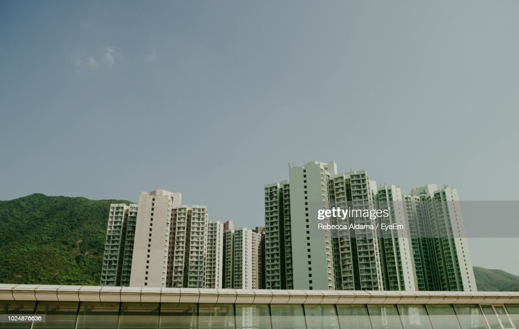 Low Angle View Of Modern Buildings Against Clear Sky : Stock Photo