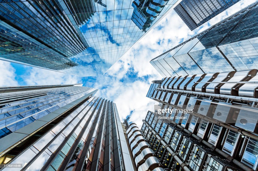 Low angle view of modern futuristic skyscrapers in the City of London, England, UK : Stock Photo
