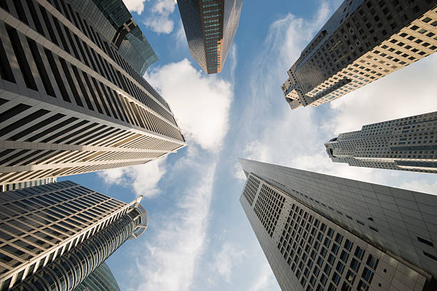 Low Angle View Of Modern Office Skyscrapes In Singapore Wall Art