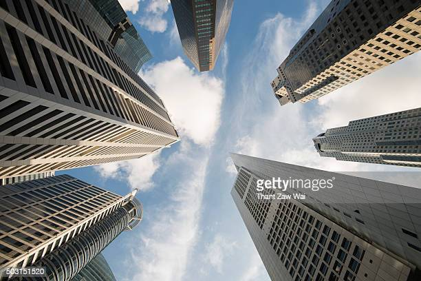 Low Angle View of Modern Office Skyscrapes in Singapore