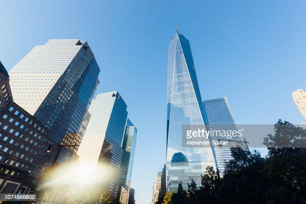 Low angle view of modern skyscrapers in Manhattan Downtown Financial district, New York, USA
