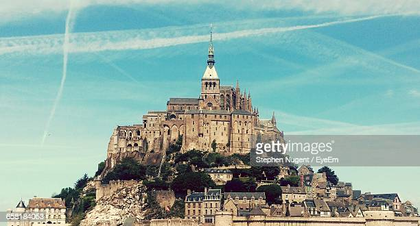 Low Angle View Of Mont Saint-Michel Against Sky