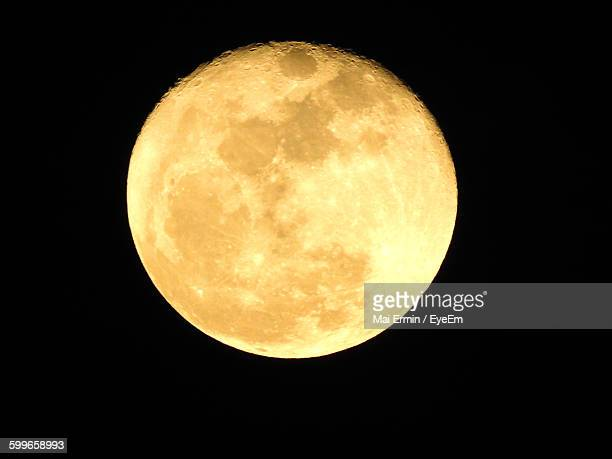 Low Angle View Of Moon In Clear Sky