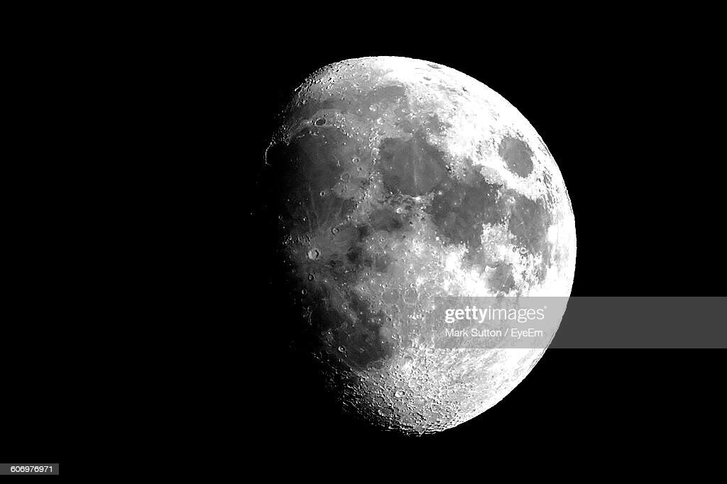 Low Angle View Of Moon In Sky At Night : Stock Photo