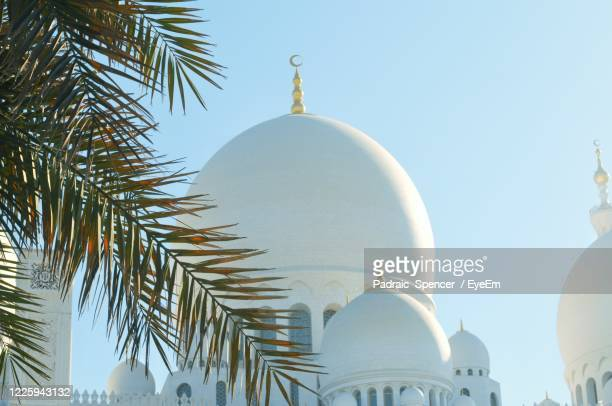 low angle view of mosque building against clear sky - dome stock pictures, royalty-free photos & images