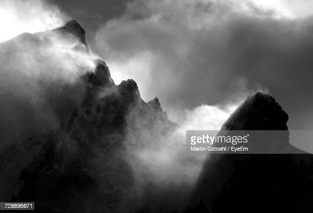 low angle view of mountain against sky - principality of liechtenstein stock pictures, royalty-free photos & images