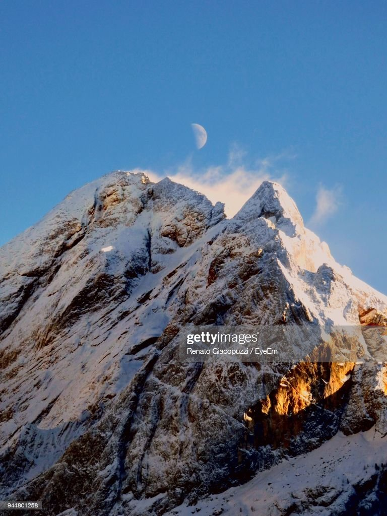 Low Angle View Of Mountain Peak Against Sky : Stock Photo