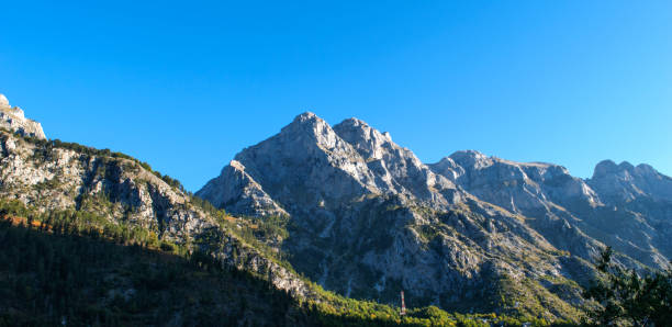 Low Angle View Of Mountains Against Clear Blue Sky, Valbon, Albania