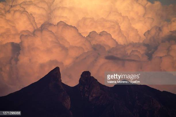 low angle view of mountains against sky during sunset - nuevo leon state stock pictures, royalty-free photos & images
