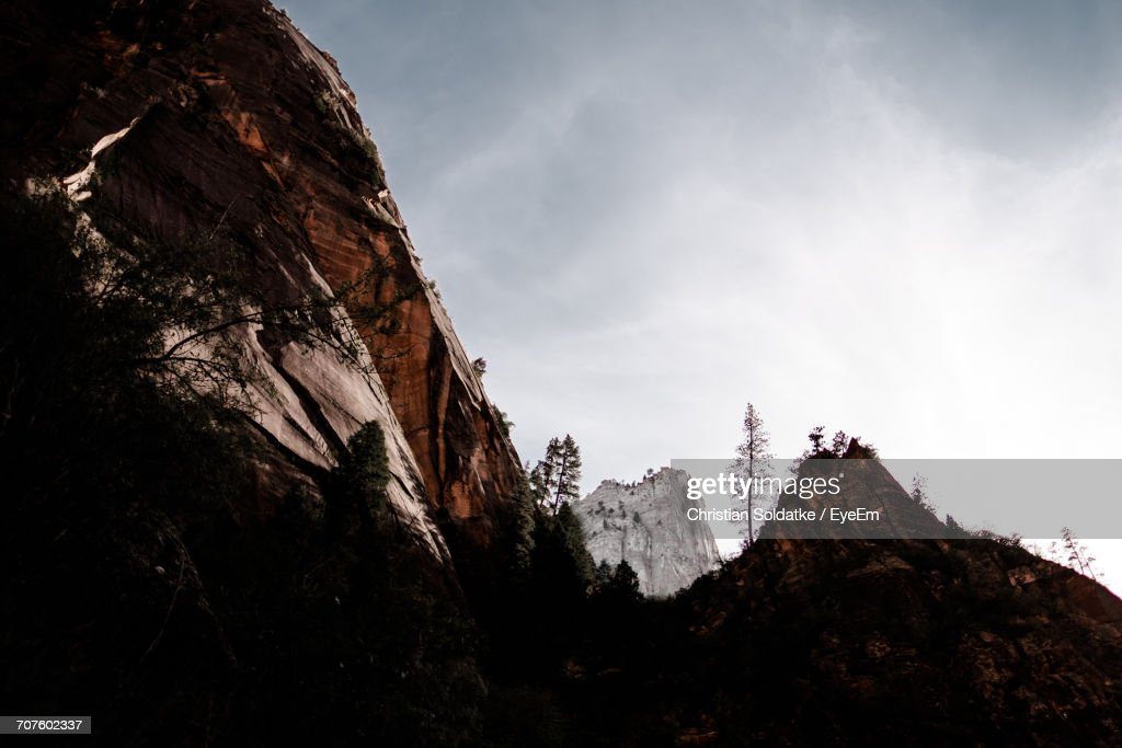 Low Angle View Of Mountains Against Sky During Winter : Stock-Foto