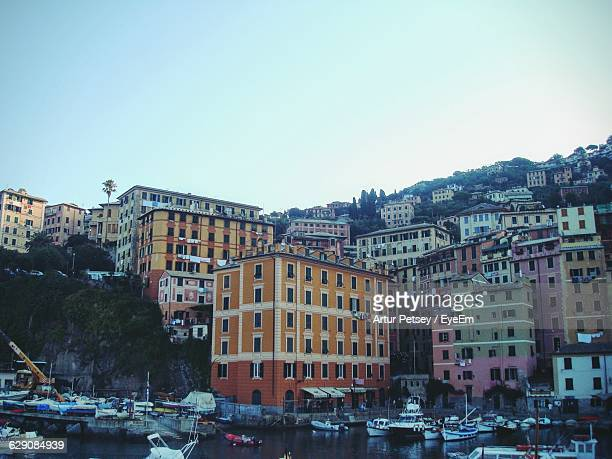 low angle view of multi colored buildings against clear sky - artur petsey foto e immagini stock