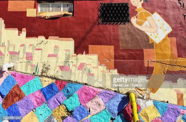 low angle view of mural wall - jeonju stock pictures, royalty-free photos & images