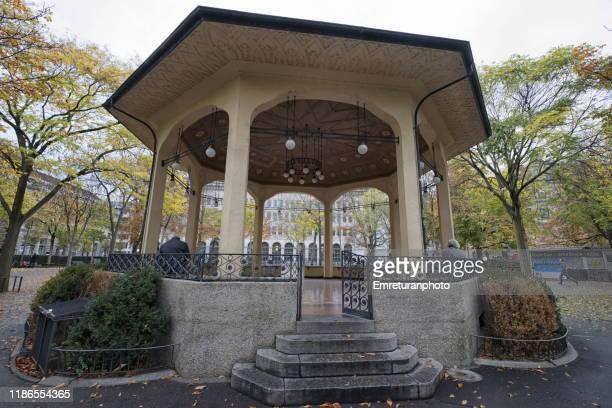 low angle view of music pavillion in burkliplatz ,zurich. - emreturanphoto bildbanksfoton och bilder