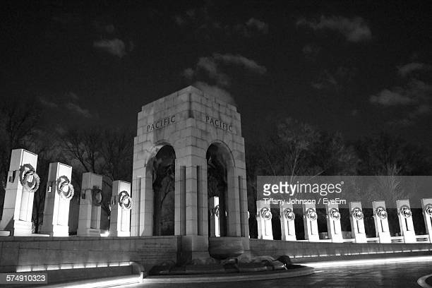 low angle view of national world war ii memorial against sky - national world war ii memorial stock pictures, royalty-free photos & images
