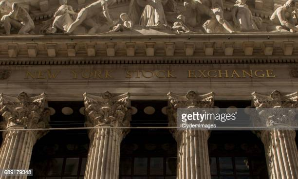 Low angle view of New York Stock Exchange in Lower Manhattan, New York City