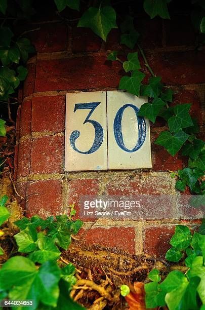 Low Angle View Of Number 30 On Wall Amidst Plants