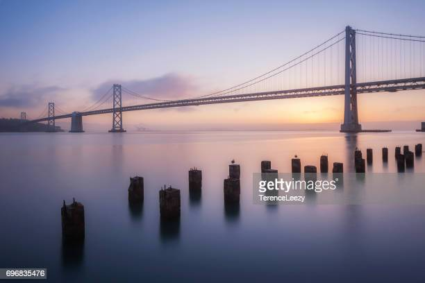 Low Angle View Of Oakland Bay Bridge at Sunrise