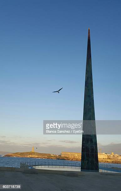 Low Angle View Of Obelisco Millenium Against Clear Sky