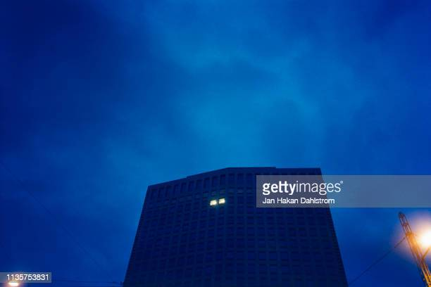 low angle view office building at