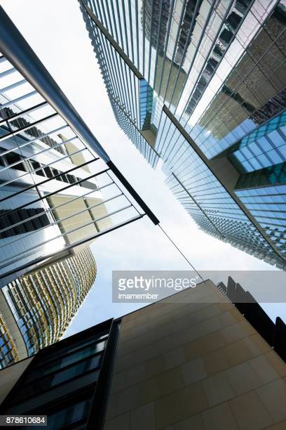 Low angle view of office buildings, skyscrapers, abstract background