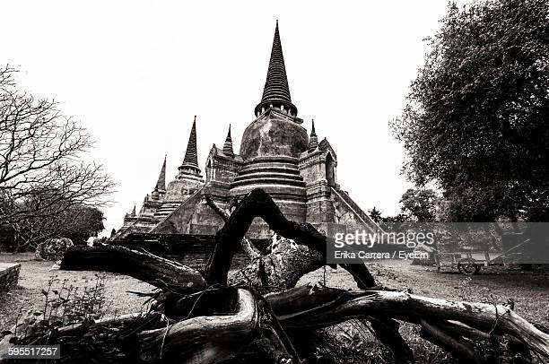 low angle view of old buildings at ayutthaya - asia carrera stock photos and pictures