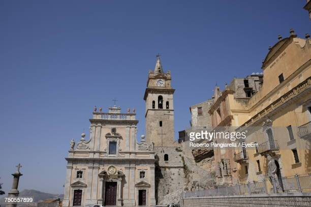 Low Angle View Of Old Church At Caccamo Against Clear Sky