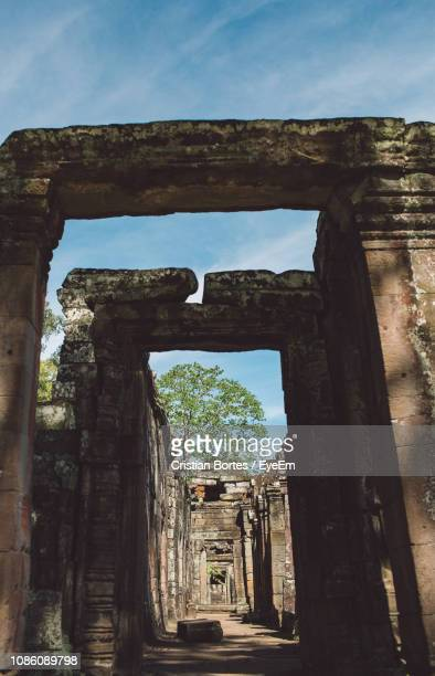 low angle view of old ruins against sky - bortes stock pictures, royalty-free photos & images