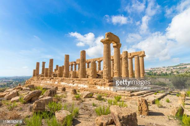 low angle view of old ruins against sky - sicily stock pictures, royalty-free photos & images