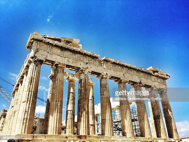 Low Angle View Of Old Ruins At Parthenon