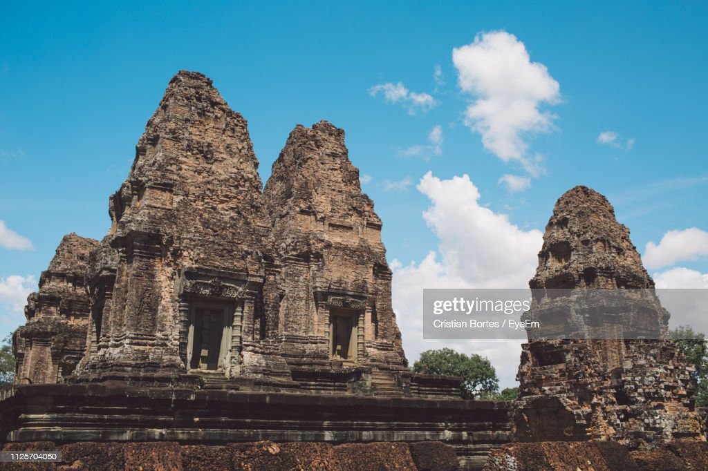 Low Angle View Of Old Temple Against Sky : Stock Photo