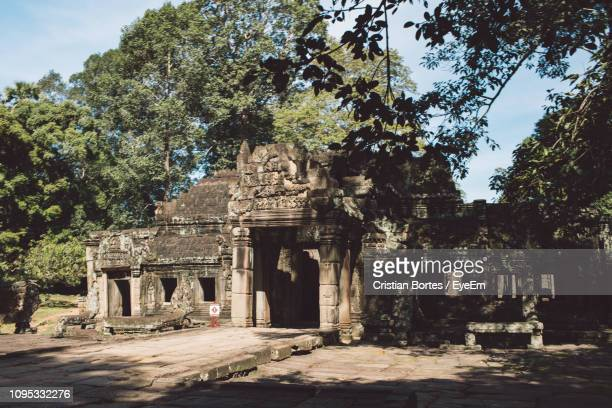 low angle view of old temple against tree - bortes stockfoto's en -beelden