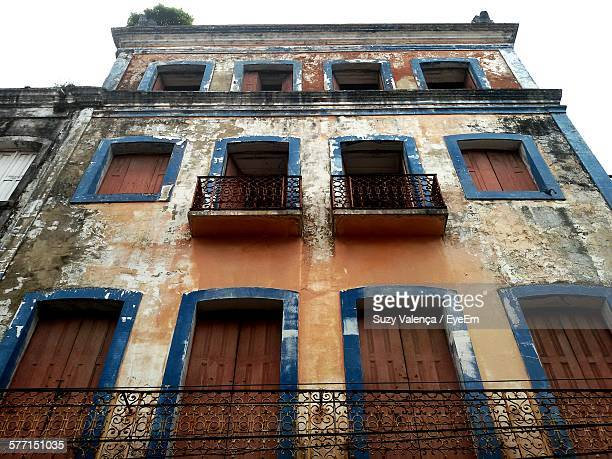 low angle view of old weathered building at recife antigo - antigo stock pictures, royalty-free photos & images