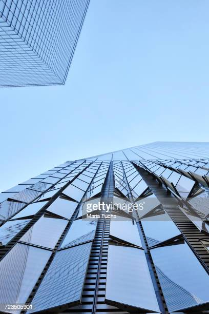Low angle view of One World Trade Center and blue sky, New York City, USA