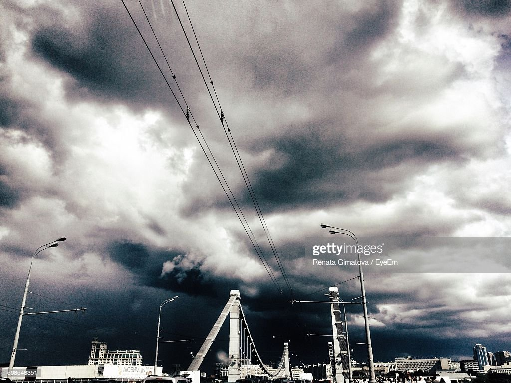 Low Angle View Of Overcast Storm Clouds Over Krymsky Bridge : Stock Photo