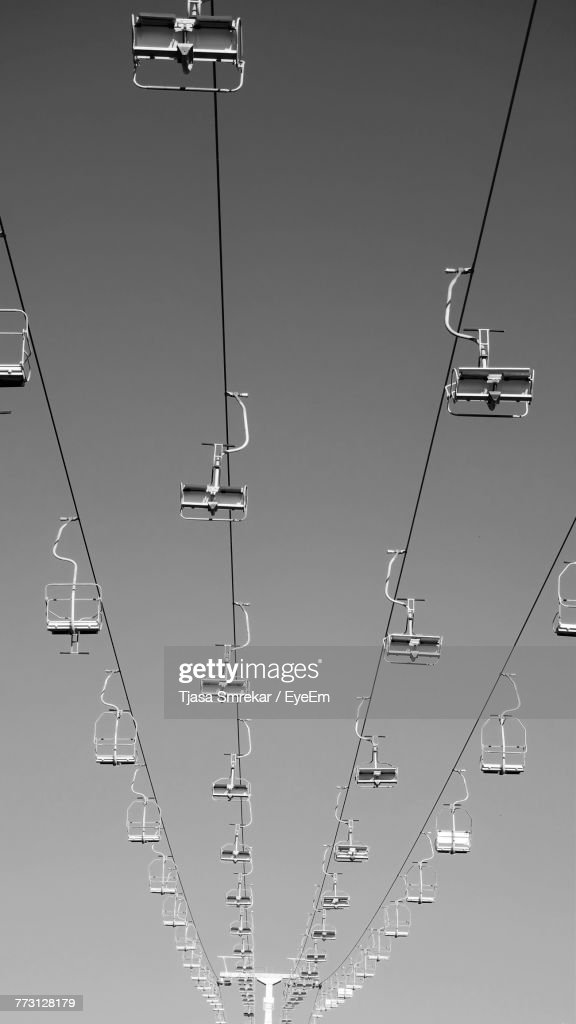 Low Angle View Of Overhead Cable Car Against Sky : Photo