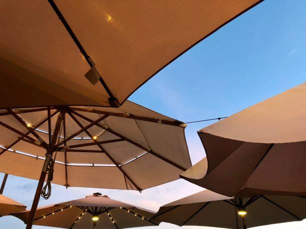 Low angle view of parasols against clear sky,canton la joya,El Salvador,Canton la joya