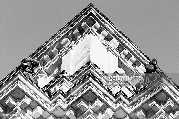 Low angle view of parliament building against clear sky, Berlin, Germany