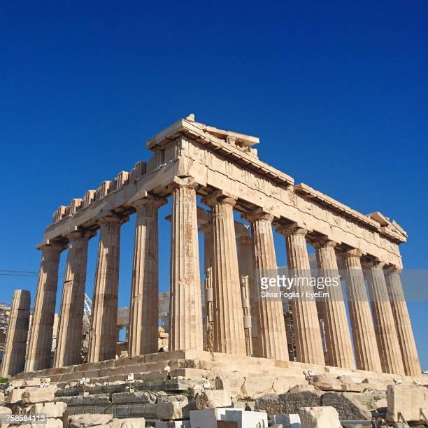 Low Angle View Of Parthenon Against Clear Blue Sky