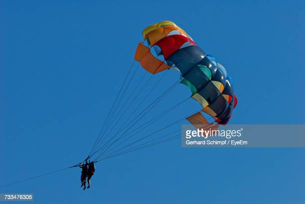 low angle view of people paragliding against clear blue sky - gerhard schimpf stock pictures, royalty-free photos & images