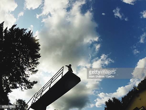 Low Angle View Of Person Standing At Diving Platform Against Sky