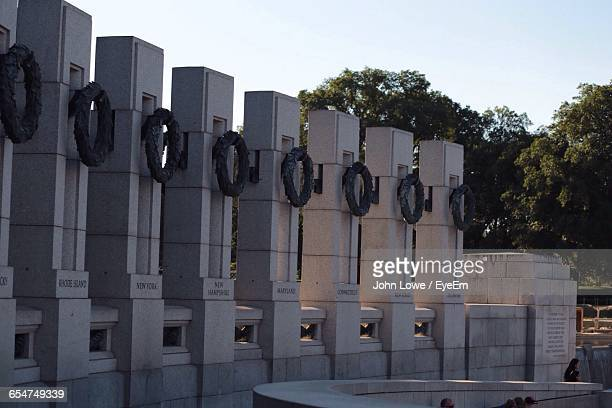 low angle view of pillars at national world war ii memorial - national world war ii memorial stock pictures, royalty-free photos & images