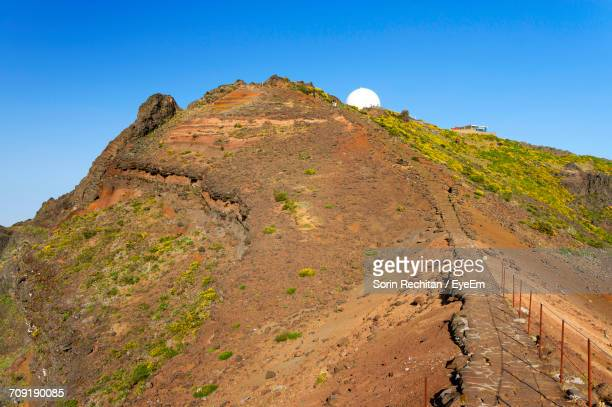 Low Angle View Of Radar Dome On Mountain Against Clear Blue Sky