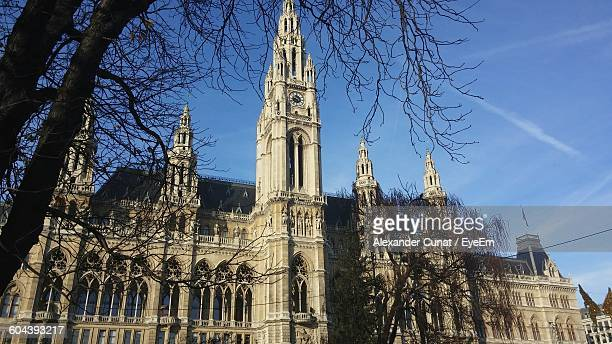 Low Angle View Of Rathaus And Bare Trees Against Blue Sky