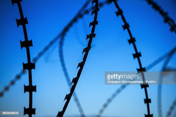 Low Angle View Of Razor Wire Against Clear Sky