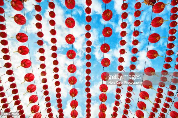 Low angle view of Red chinese lanterns against blue sky.
