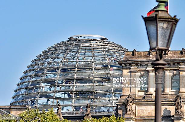 Low Angle View Of Reichstag Dome Against Blue Sky