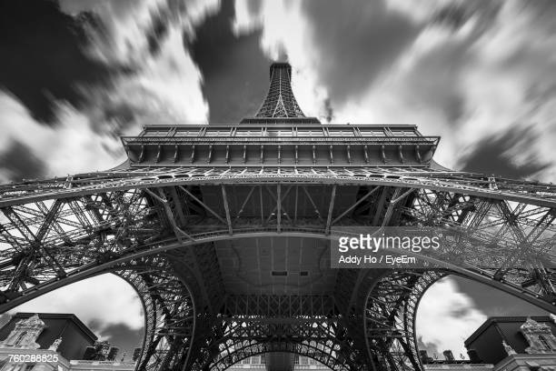 Low Angle View Of Replica Eiffel Tower Against Dramatic Sky
