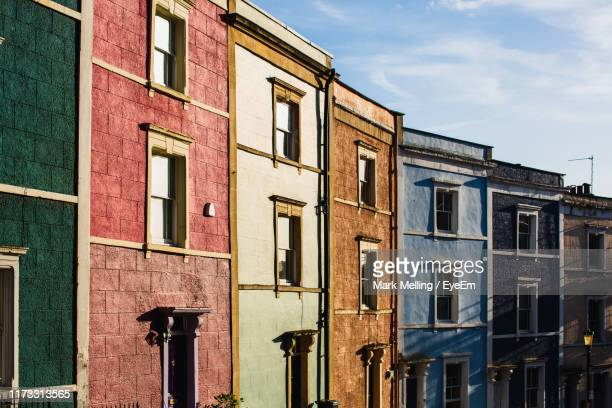 low angle view of residential building against sky - bristol stock pictures, royalty-free photos & images